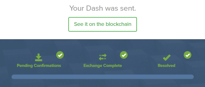 Completed Shapeshift Exchange