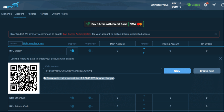 Withdraw Coins from HitBTC