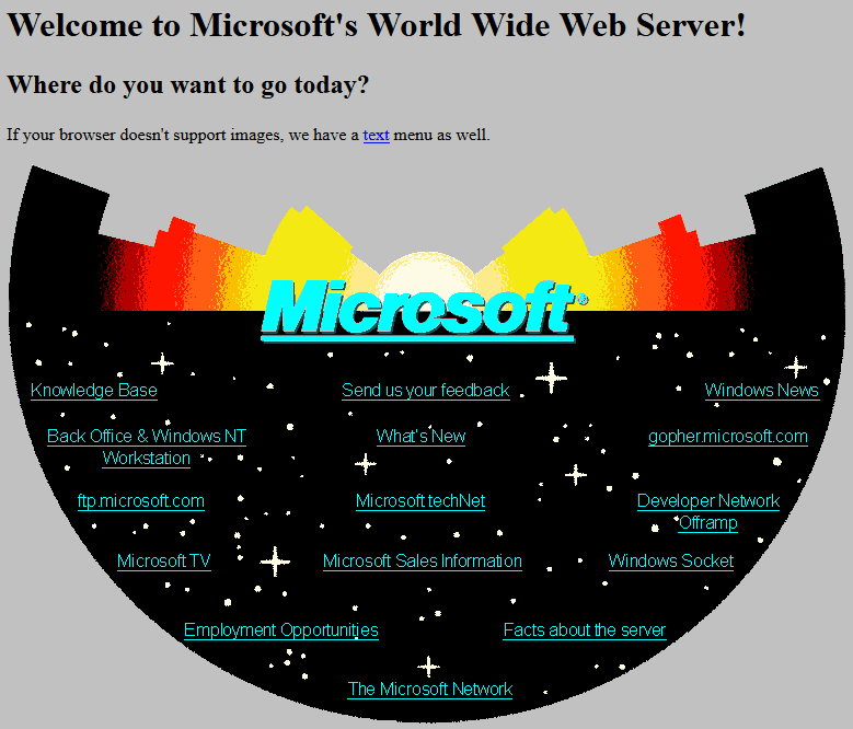 Early Microsoft Home Page