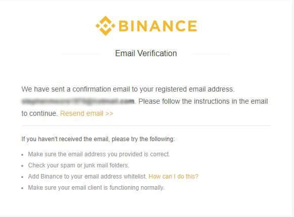 Email verifications on Binance