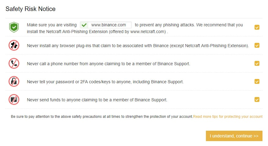 Security information to take note of on Binance