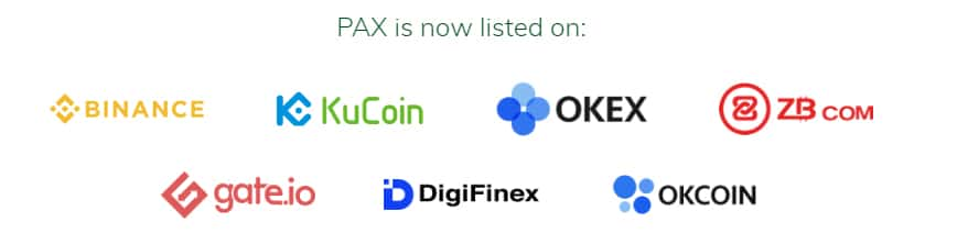 Exchanges Listed Paxos