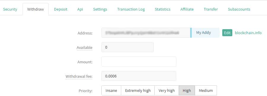 Withdrawing Funds Deribit