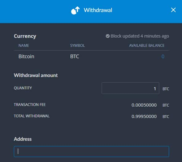 Withdrawal Request Bittrex