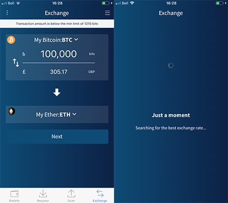 Exchanging Coins Edge Wallet