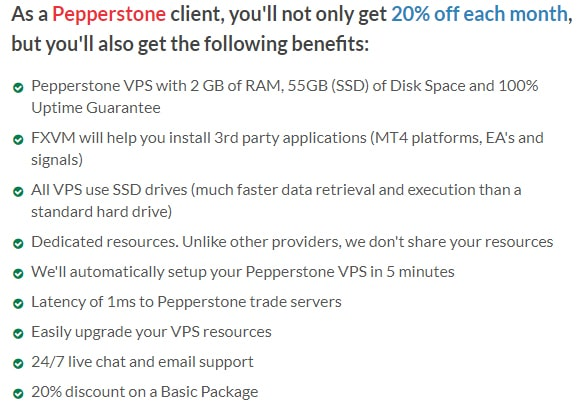 Forex VPS offer for Pepperstone