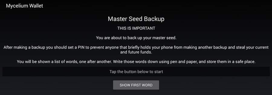 Master Seed for MyCelium