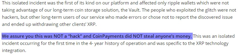 CoinPayments Ripple Hack
