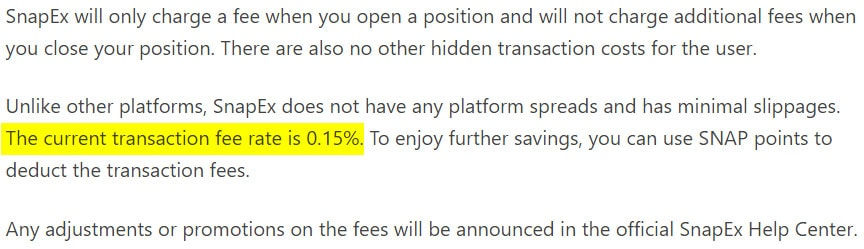 SnapEx Trading Fees