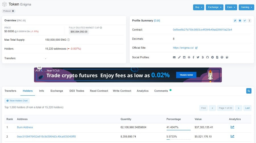 ENG Cryptocurrency Etherscan
