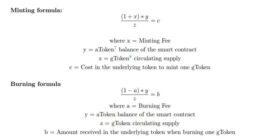Growth DeFi Minting and Burning Equations