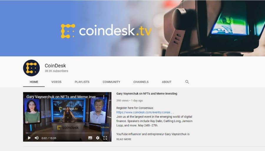 CoinDesk.tv's homepage